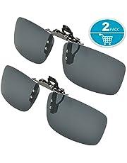 Clip su Occhiali da Sole Polarizzati ,Splaks 2 pack Copriobiettivo a Lente Rettangolare Senza Cornice Polarizzata .Adotto per Outdoor Sport Ciclismo (Nero)