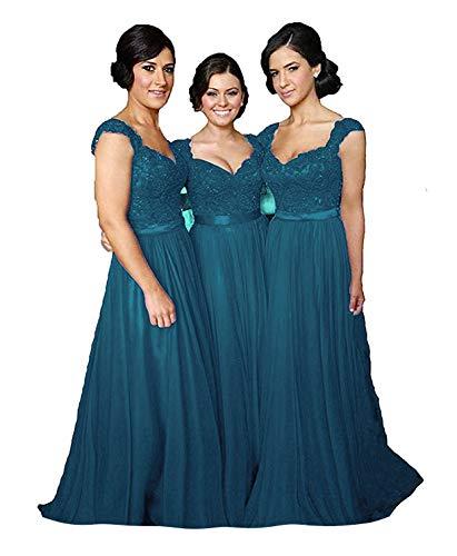 Fanciest Women' Cap Sleeve Lace Bridesmaid Dresses Long Wedding Party Gowns Teal US10