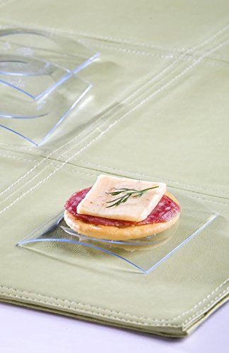 Zappy 100 Disposable Plastic Mini Clear Square Dessert Plates Small Mini Appetizer Plates Sushi Cupcake Pie Plates Mini Sushi Trays ( Clear )
