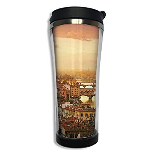 Stainless Steel Insulated Coffee Travel Mug,Spill Proof Flip Lid Insulated Coffee cup Keeps Hot or Cold 14.2oz(420 ml)Customizable printing byWanderlust Decor,Bridge Ponte Vecchio Italy Bird Eye Sunse
