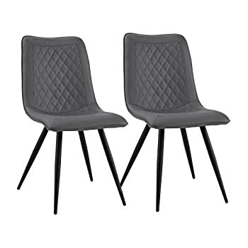 amazon com set of 2 dining chairs faux leather kitchen chairs for