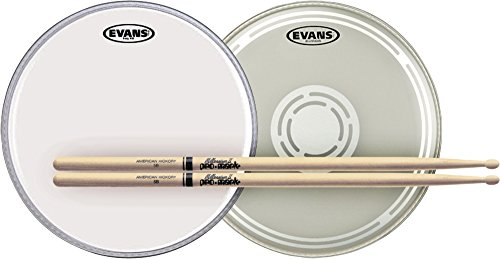 Evans EC Reverse Dot Snare Batter and Snare Side Head Pack with Free Pair of Pro-Mark Sticks Wood 5B ()