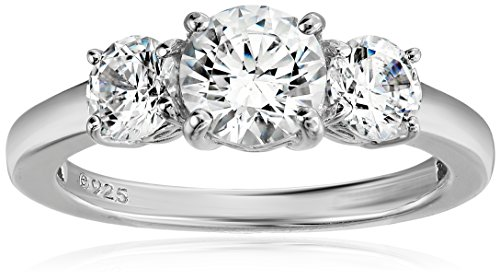 Platinum-Plated Sterling Silver Round 3-Stone Ring made with Swarovski Zirconia (2 cttw), Size -