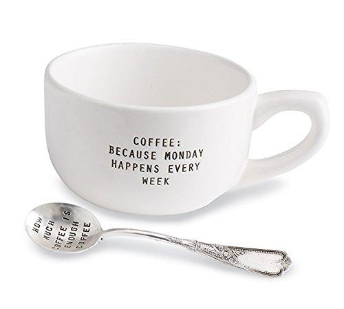 Mud Pie How Much Coffee Mug Set, White (Set Coffee Silverplate)