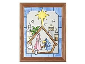 A Christmas Nativity Scene Painted Holiday Art Glass