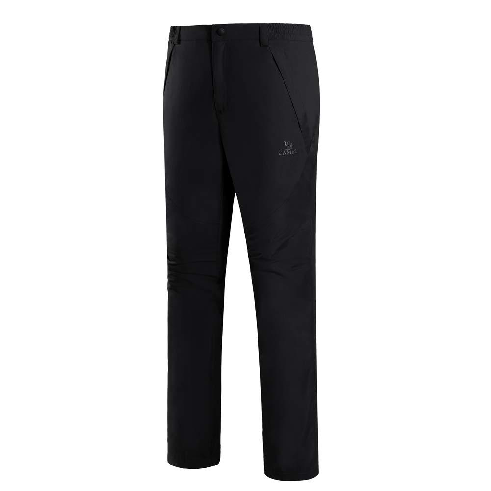 CAMEL Pantalones de senderismo al aire libre Hombres de terciopelo Espesar A prueba de viento Pantalón de lana impermeable Montañismo Invierno (Negro, XXL)