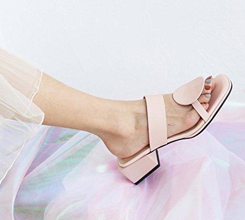 Blue per Toe Pink Scarpe da Comfort Pantofole Rosa Open Dress e DANDANJIE Infradito Estivi Sandali Donna Chunky Heel ZFOWqwz