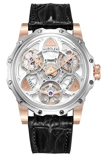 Huboler Stainless Steel 47mm Swiss Quartz Genuine Crocodile Leather Strap Mens Wrist Watch White ()