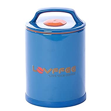 LOVFFEE Blue Ceramic Premium Coffee Container with Scoop. Hold 1 LB Whole Bean or Ground Bean.