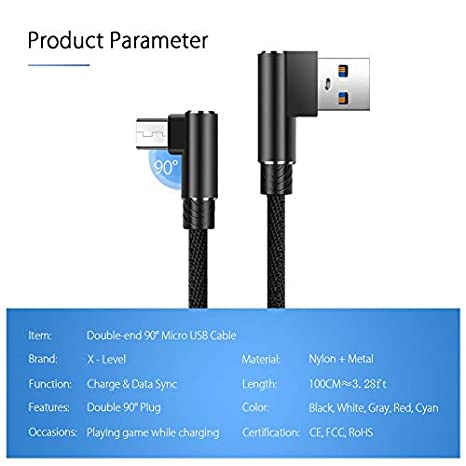 Amazon.com: utp - Cable micro USB de carga rápida de 90 ...