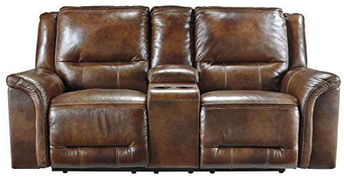(Ashley Furniture Signature Design - Jayron Reclining Loveseat - Double - Storage Console - Harness Brown)