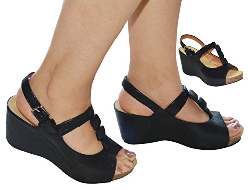 Ladies Soft Comfort Insole T-Bar Wedge Slingback Sandal Black