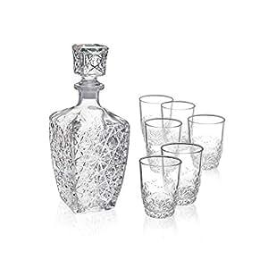 Bormioli Rocco Dedalo Whiskey Gift Set - Sophisticated 26.25oz Diamond Decanter & 6 Etched 8.75oz Whiskey Glasses With Sparkling Star-Cut Detailing - For Whiskey, Bourbon, Scotch & Liquor