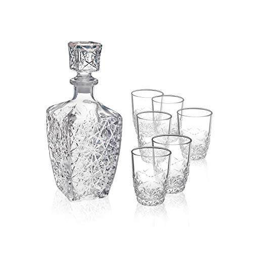 - Bormioli Rocco Dedalo Whiskey Gift Set - Sophisticated 26.25oz Diamond Decanter & 6 Etched 8.75oz Whiskey Glasses With Sparkling Star-Cut Detailing - For Whiskey, Bourbon, Scotch & Liquor