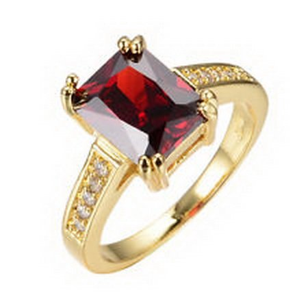 jacob alex ring Size 10 Ruby Garnet Wedding Rings Lady's 10K Yellow Gold Filled Fashion for $<!--$6.06-->