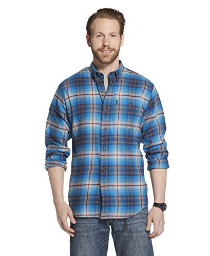 G.H. Bass & Co. Men's Fireside Flannels Long Sleeve Button Down Shirt, Mykonos Blue, Medium