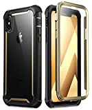 i-Blason Ares Designed for iPhone Xs Case, iPhone X Case, Full-Body Rugged Clear Bumper Case with Built-in Screen Protector for iPhone Xs 5.8 Inch (2018 Release) (Gold)