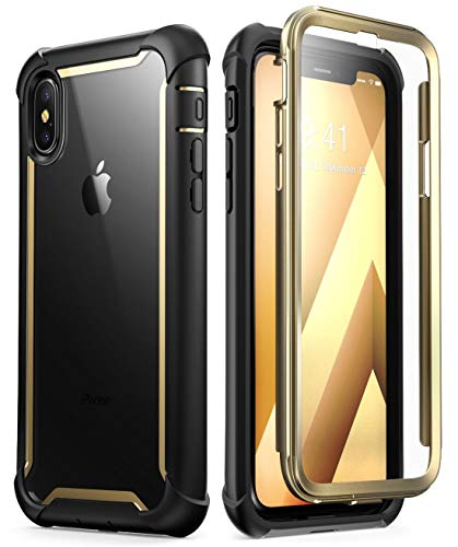 i-Blason Case for iPhone X 2017/ iPhone Xs 2018, [Ares] Full-Body Rugged Clear Bumper Case with Built-in Screen Protector (Gold)