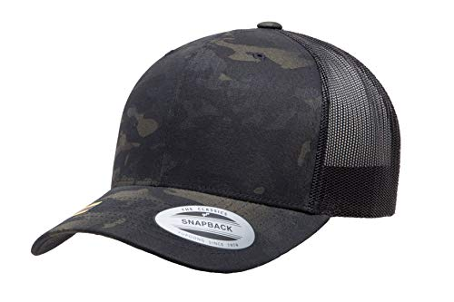 Yupoong Retro Trucker Snapback Cap | Mesh Back, Adjustable Ballcap w/Hat Liner (Black Multicam)