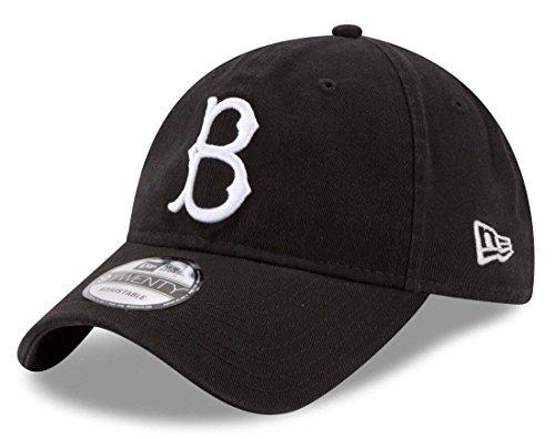 Dodgers Era Brooklyn New (New Era Authentic Brooklyn Dodgers 9TWENTY Adjustable Hat - Black/White)