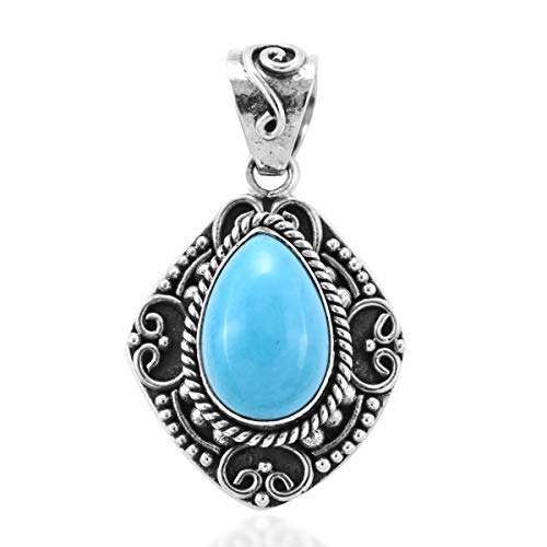 Pendant 925 Sterling Silver Pear Sleeping Beauty Turquoise Gift Jewelry for Women