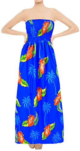 LA LEELA Soft  Printed Tropical Halter Beach Tube Dress Bright Blue 357 One Size
