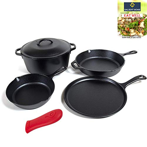 Lodge Cast Iron 5 Piece Bundle, 5 Quart Dutch Oven with Cover, 10.5 inch Griddle Pan, 8 and 10.25 Inch Skillets, Pre-Seasoned Cookware Set Ready for Cooking, Bundle Includes Salient Home Recipe Book