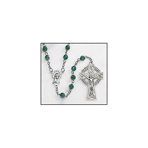 Green Irish Rosary with Celtic Cross. Material: Acrylic 6 Mm Bead Size: 19