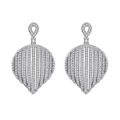 mecresh Silver Pave Cubic Zirconia Elegant Big Teardrop Engagement Earrings Fine Wedding CZ jewelry