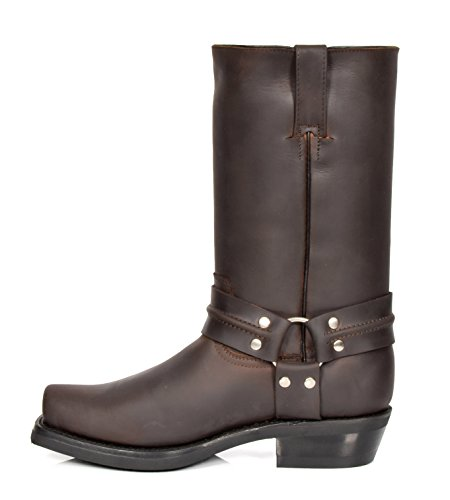 House Of Leather Cowboy Biker Boots Leather Slip on Square Toe Calf Length Western Heels 06RE-Hi Brown eUNA5OTK