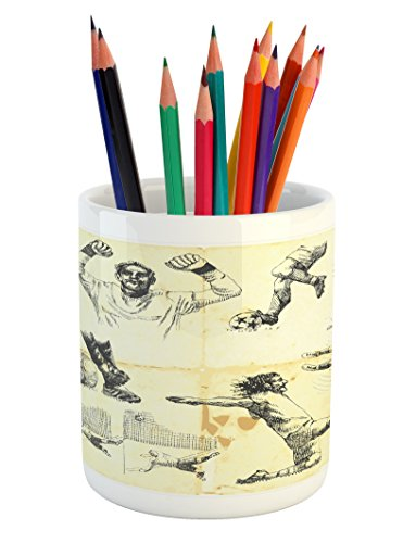 Ambesonne Soccer Pencil Pen Holder, Collection of Different Soccer Player and Goalkeeper Theme Sketch Art, Printed Ceramic Pencil Pen Holder for Desk Office Accessory, Pale Yellow Charcoal Grey by Ambesonne