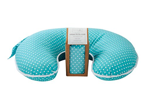 Premium Nursing Pillow Slipcover ♥100% Waterproof ♥ Cotton Fabric in Blue and White Polka Dots ♥ Fits Breastfeeding Pillows Convenient Pocket Baby Shower Gift for Boy or Girl