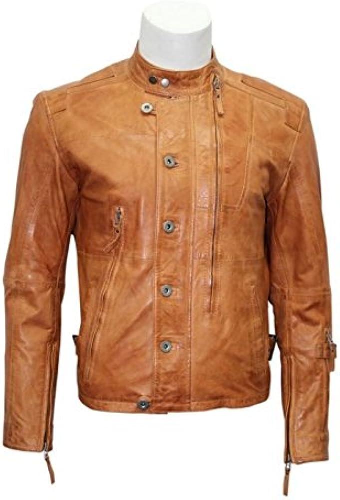 Boots And Leather Hombre M121 Color Broncearse Cereza Chaqueta de la Camisa de Suave napa de Cuero Real (UK 3XL / EU 58): Amazon.es: Ropa y accesorios