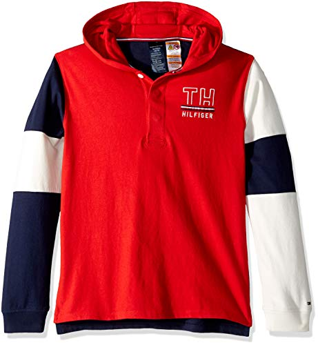b7fedb466a2 Tommy Hilfiger Boys' Big' Adaptive Rugby Shirt With Magnetic Buttons ...