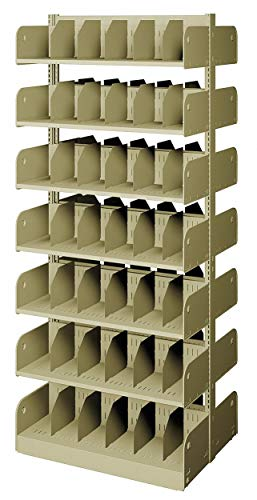 Starter Shelving Face - 36' x 24' x 84' Double Face Starter Divider Library Shelving with 14 Shelves, Ch/Putty