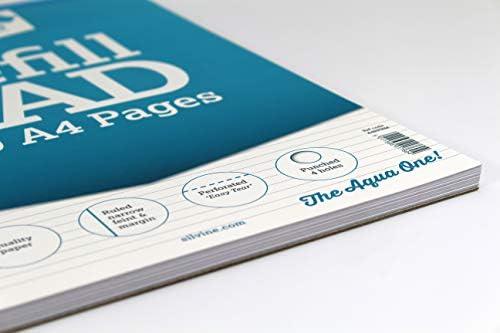 Silvine Nachfüllblock, 160 Seiten, A4, mit 4 Löchern Schmal gefüttert mit Rand Einzelbett