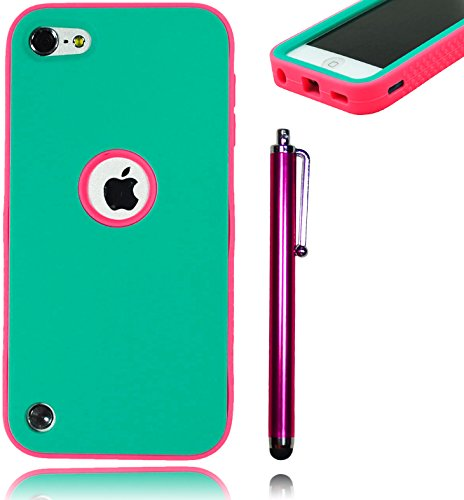 Bastex Heavy Duty Hybrid Case for Apple Ipod Touch 5 - Hot Pink Soft Silicone Cover Surrounded by Hard Teal ShellINCLUDES SCREEN PROTECTOR AND STYLUS [Compatible with iPod Touch 6]