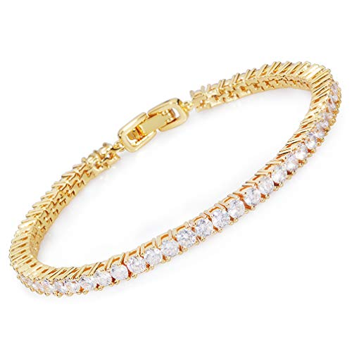 MEETYOO Tennis Bracelet Crystal Jewelry Lady Valentines Gift Zirconia Platinum Plated Bangle ()