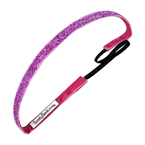 Sweaty Bands Womens Girls Headband - Non-Slip Velvet-Lined Glitter Hairband - Viva Diva Pink 3/8-Inch