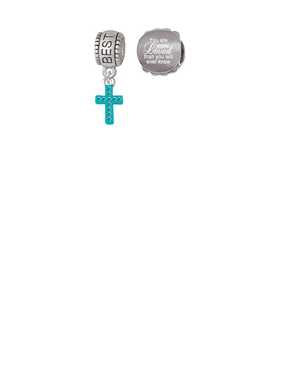 Amazon.com: Small Teal Crystal Cross Aunt Charm Bead with You Are More Loved Bead (Set of 2): Jewelry