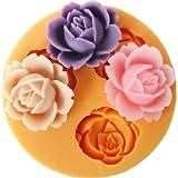 Allforhome Mini moule en silicone pour décorations de gâteaux 3cavités Motif fleurs 1,8cm