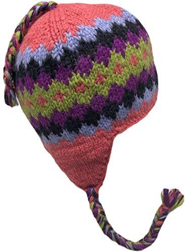 Wool Trapper - Nepal Hand Knit Sherpa Hat with Ear Flaps, Trapper Ski Heavy Wool Fleeced Lined Cap (Salmon/Purple Diamonds)