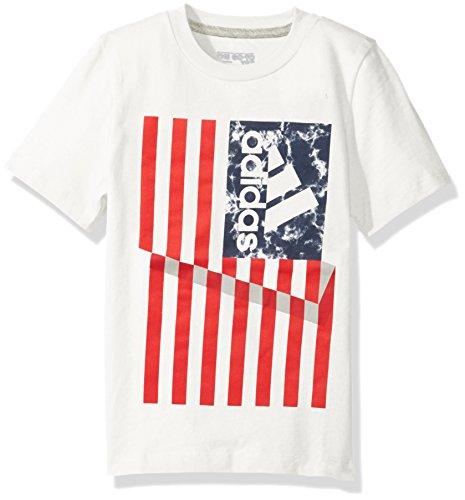 Adidas Boys' Little Short Sleeve Graphic Tee Shirts, Flag White, 7X