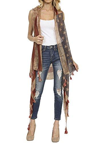 Patriotic Tassle Accent Vintage USA American Flag Vest
