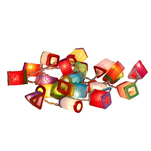 CHAINUPON Chinese Paper Mini Lantern String Party,Patio,Fairy,Decor,Living Room,Bedroom,Christmas,Wedding,Oriental,Asian Lights (Multi-colored) ()