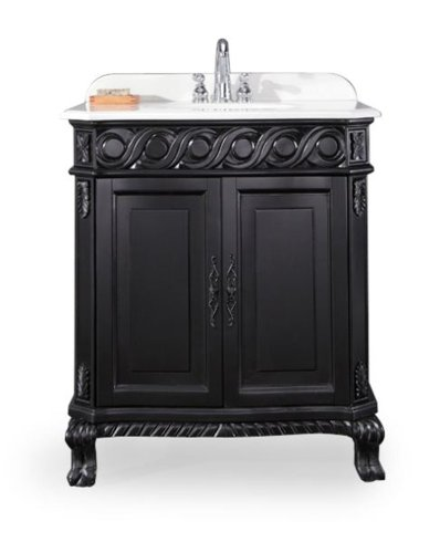 Ove Decors Trent 30 Bathroom 30-Inch Vanity Ensemble with Ivory Marble Countertop and Ceramic Basin, Antique Black (Ivory Bathroom Vanity)