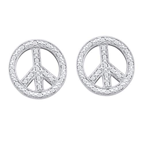 Gold Earring Diamond Sign Peace - The Diamond Deal 10kt White Gold Womens Round Diamond Peace Sign Earrings 1/6 Cttw