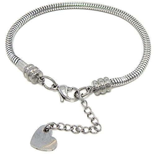 Pro Jewelry Stainless Steel Starter Charm Bracelet European Style Available All Size Used Drop Down Menu! (7 Inches) -