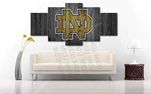 Notre Dame Irish Frame - 5 Piece American Football College University Teams Art Decor Wall Poster (5 Piece Medium, Notre Dame Fighting Irish)