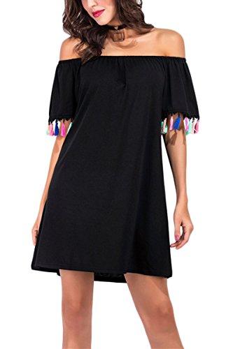 Bai You Mei Women Off Shoulder Tassel Dress Summer Sleeveless Loose Casual Beach Boho Midi Maxi Dress Black S